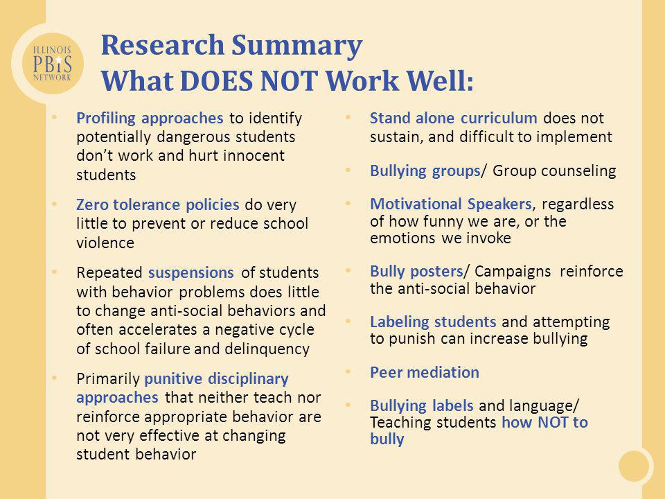 Research Summary What DOES NOT Work Well: