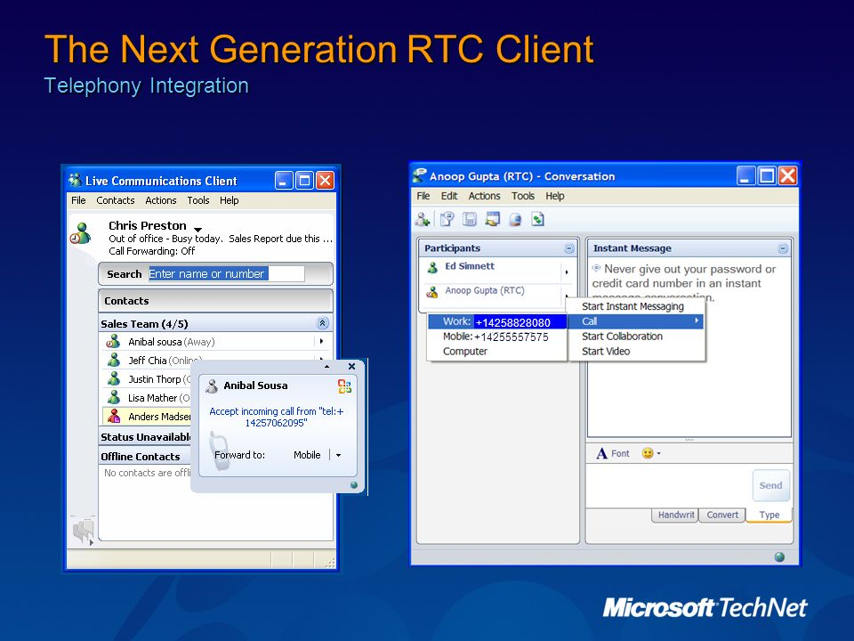 The Next Generation RTC Client Telephony Integration
