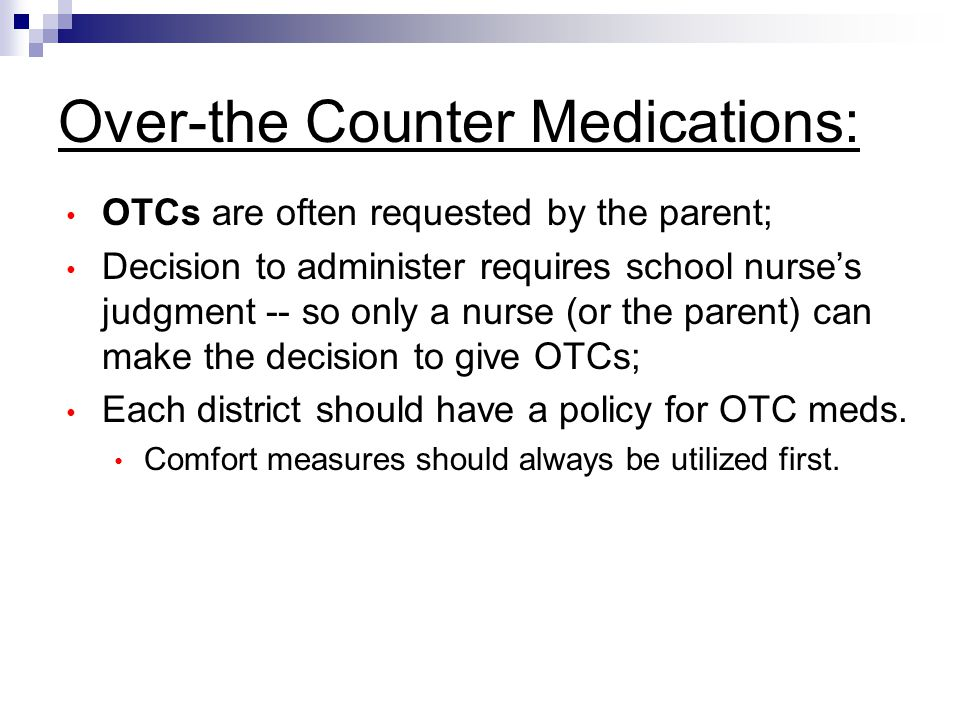 Over-the Counter Medications: