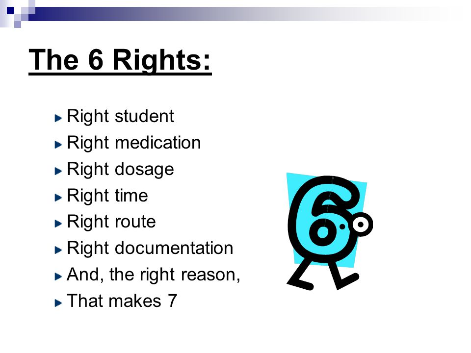 The 6 Rights: Right student Right medication Right dosage Right time