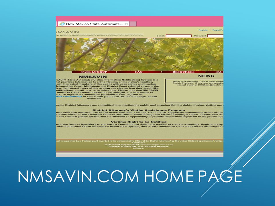 Case lookup FAQ Resources DA contact NMSAVIN.COM Home PAGE