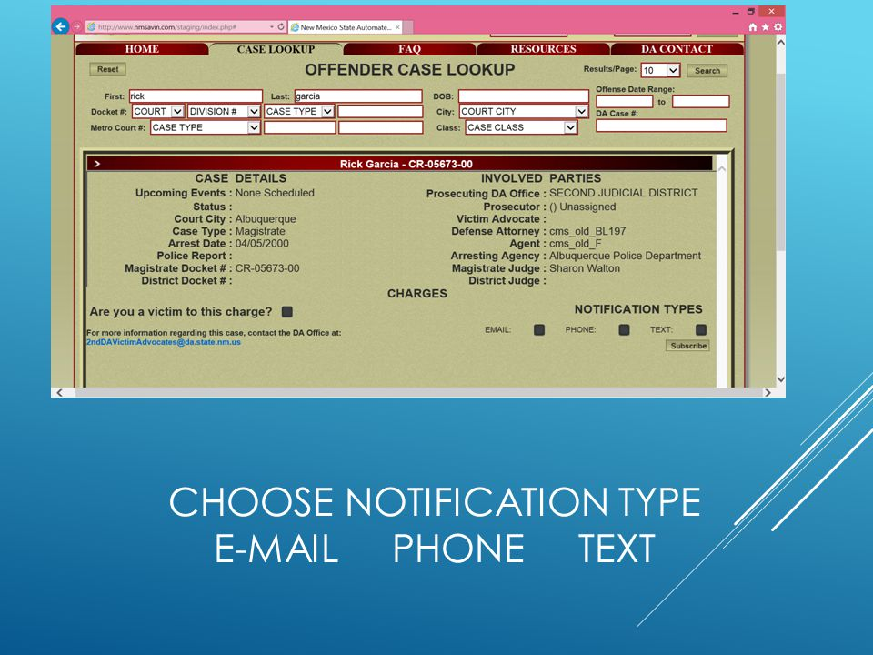 Choose notification type e-mail phone text