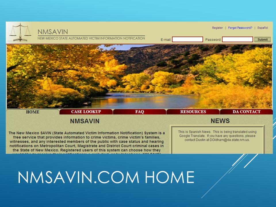 Case lookup FAQ Resources DA contact NMSAVIN.COM Home