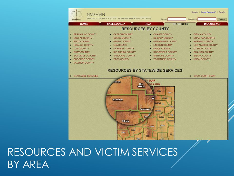 RESOURCES and victim services By area