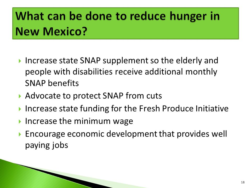What can be done to reduce hunger in New Mexico