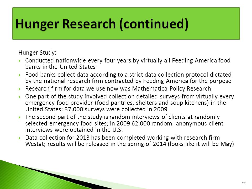 Hunger Research (continued)