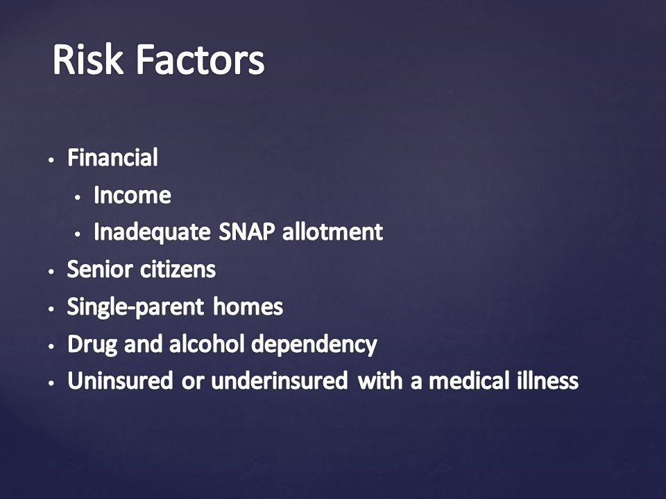 Risk Factors Financial Income Inadequate SNAP allotment