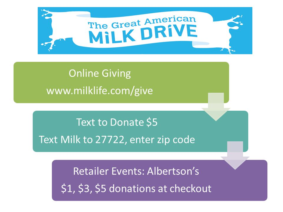 Text Milk to 27722, enter zip code