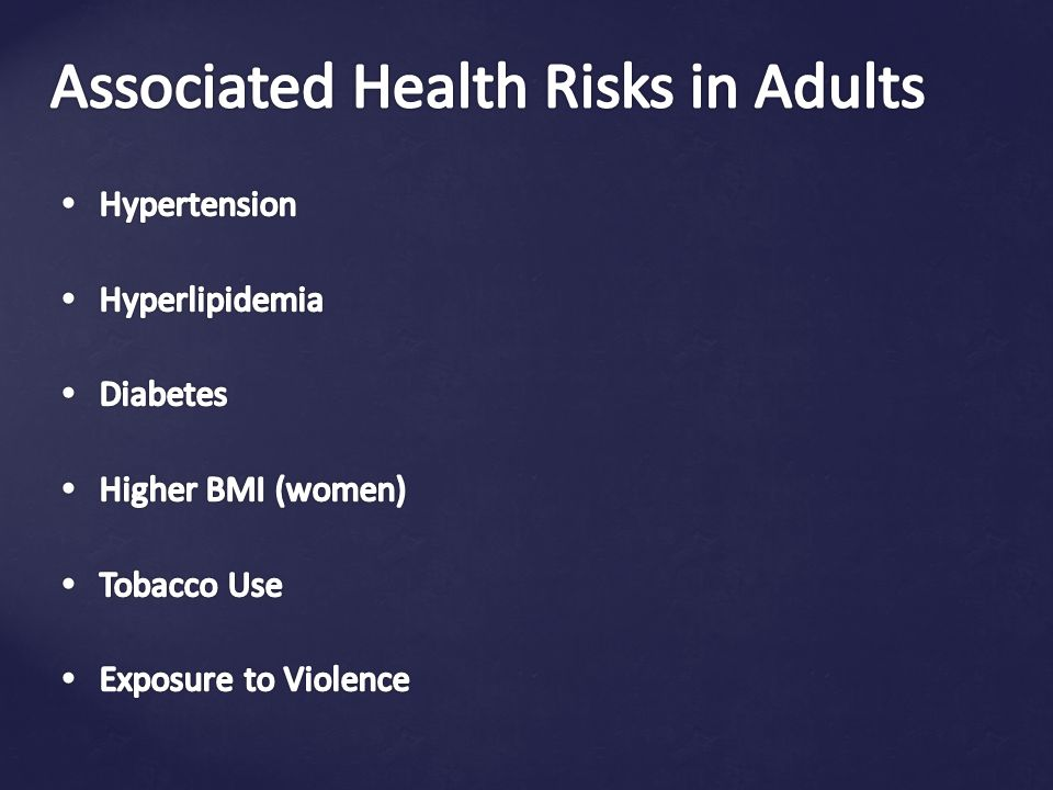 Associated Health Risks in Adults