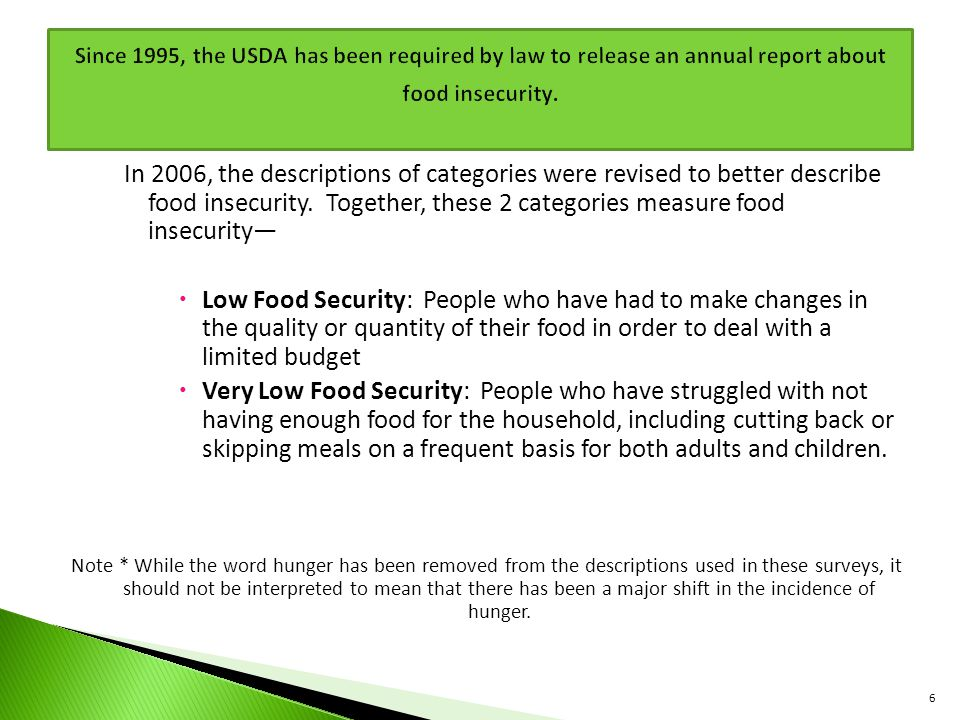 Since 1995, the USDA has been required by law to release an annual report about food insecurity.