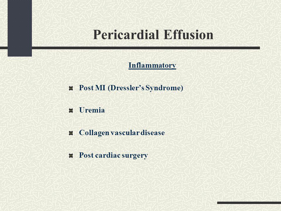 Pericardial Effusion Inflammatory Post MI (Dressler's Syndrome) Uremia