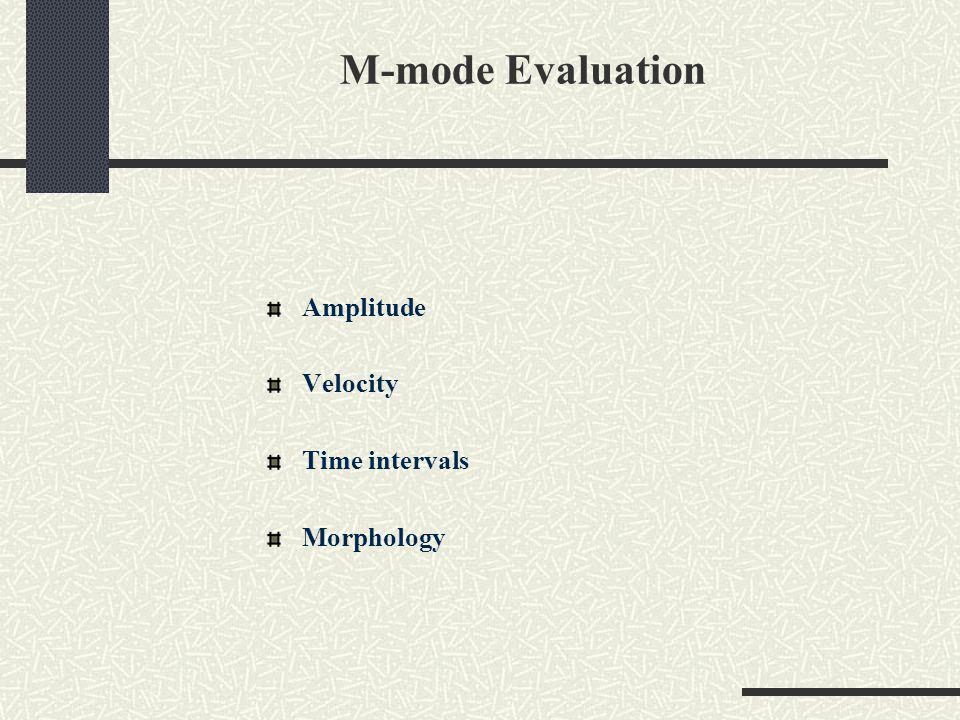 M-mode Evaluation Amplitude Velocity Time intervals Morphology
