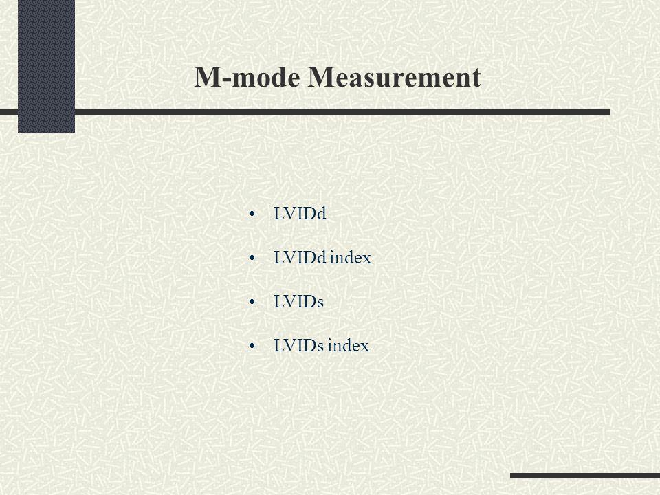 M-mode Measurement LVIDd LVIDd index LVIDs LVIDs index