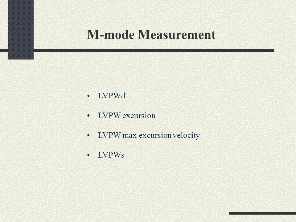 M-mode Measurement LVPWd LVPW excursion LVPW max excursion velocity