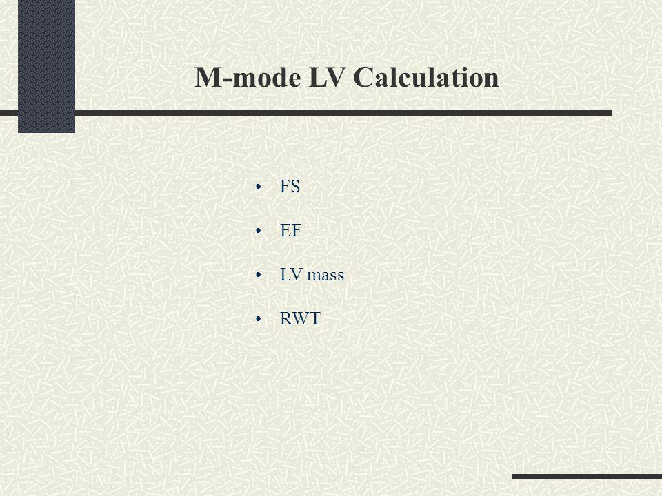 M-mode LV Calculation FS EF LV mass RWT