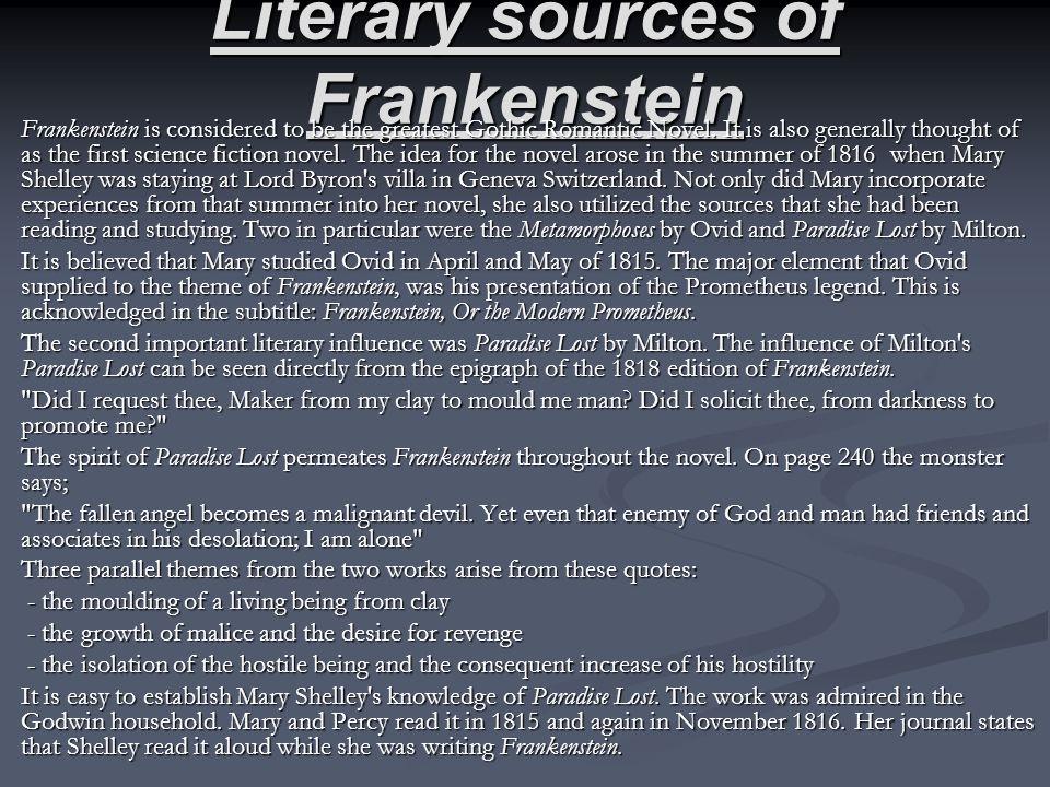 Literary sources of Frankenstein
