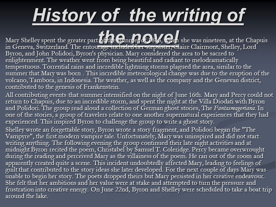 History of the writing of the novel