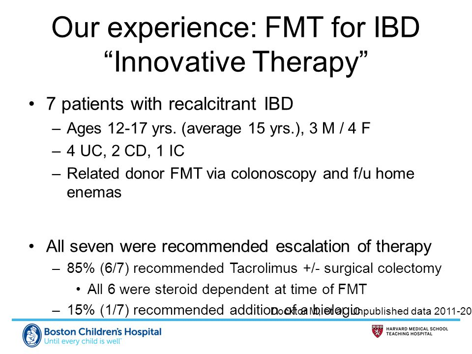 Our experience: FMT for IBD Innovative Therapy
