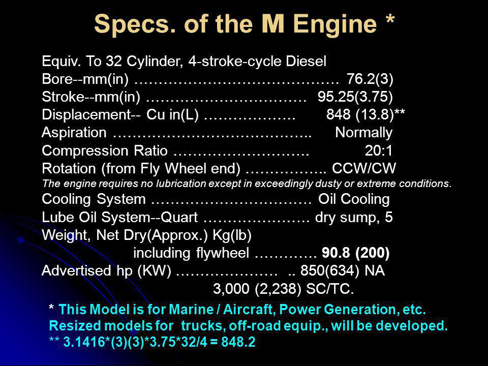 Specs. of the M Engine * Equiv. To 32 Cylinder, 4-stroke-cycle Diesel