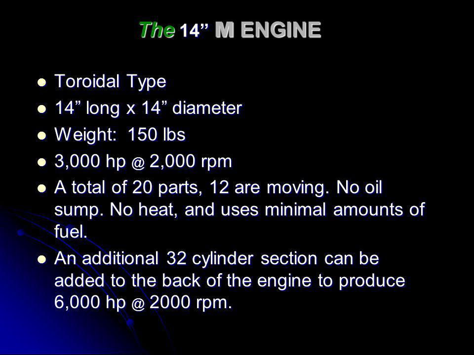 The 14 M ENGINE Toroidal Type 14 long x 14 diameter Weight: 150 lbs