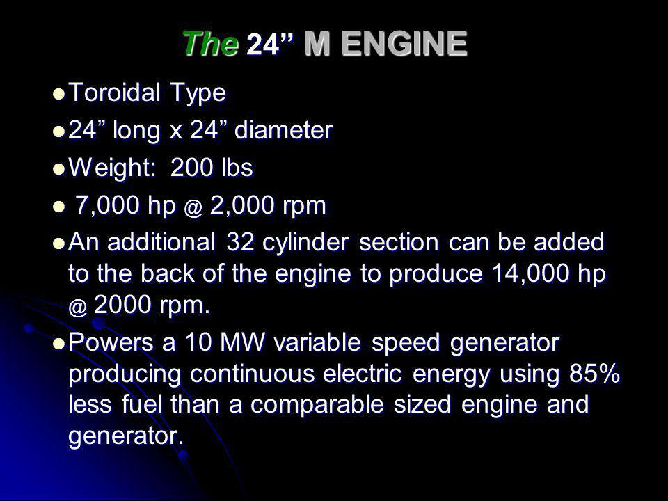 The 24 M ENGINE Toroidal Type 24 long x 24 diameter Weight: 200 lbs