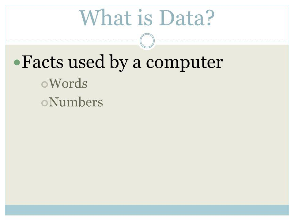What is Data Facts used by a computer Words Numbers