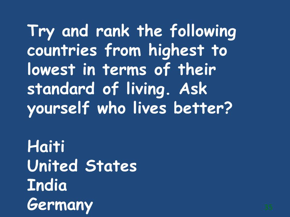 Try and rank the following countries from highest to lowest in terms of their standard of living. Ask yourself who lives better