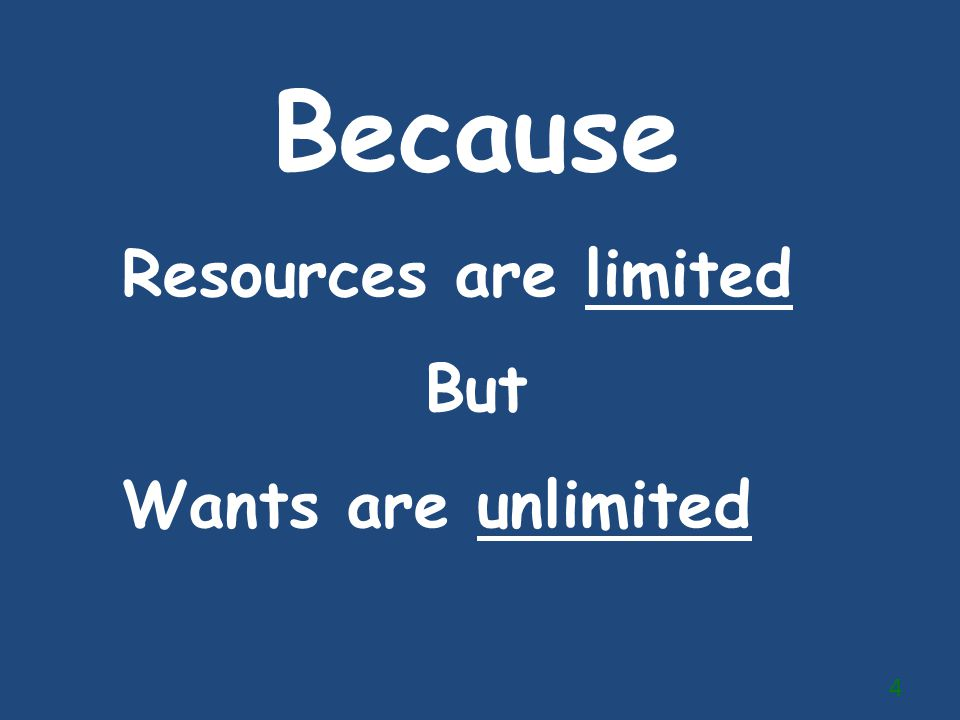 Because Resources are limited But Wants are unlimited