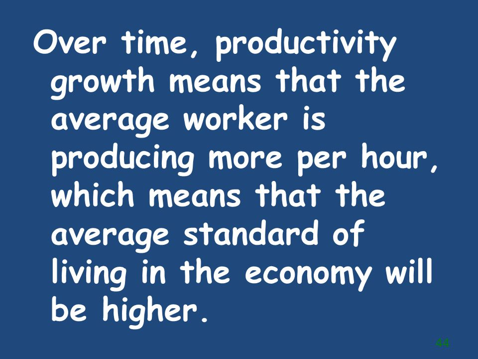Over time, productivity growth means that the average worker is producing more per hour, which means that the average standard of living in the economy will be higher.