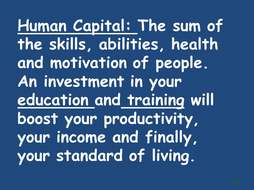 Human Capital: The sum of the skills, abilities, health and motivation of people.