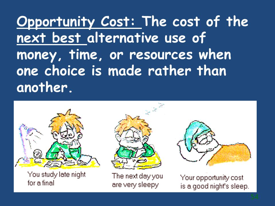 Opportunity Cost: The cost of the next best alternative use of money, time, or resources when one choice is made rather than another.
