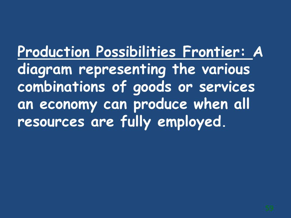 Production Possibilities Frontier: A diagram representing the various combinations of goods or services an economy can produce when all resources are fully employed.