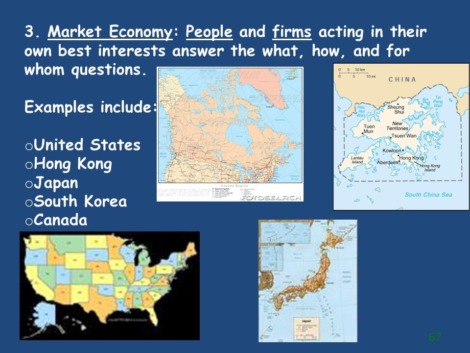 3. Market Economy: People and firms acting in their own best interests answer the what, how, and for whom questions.