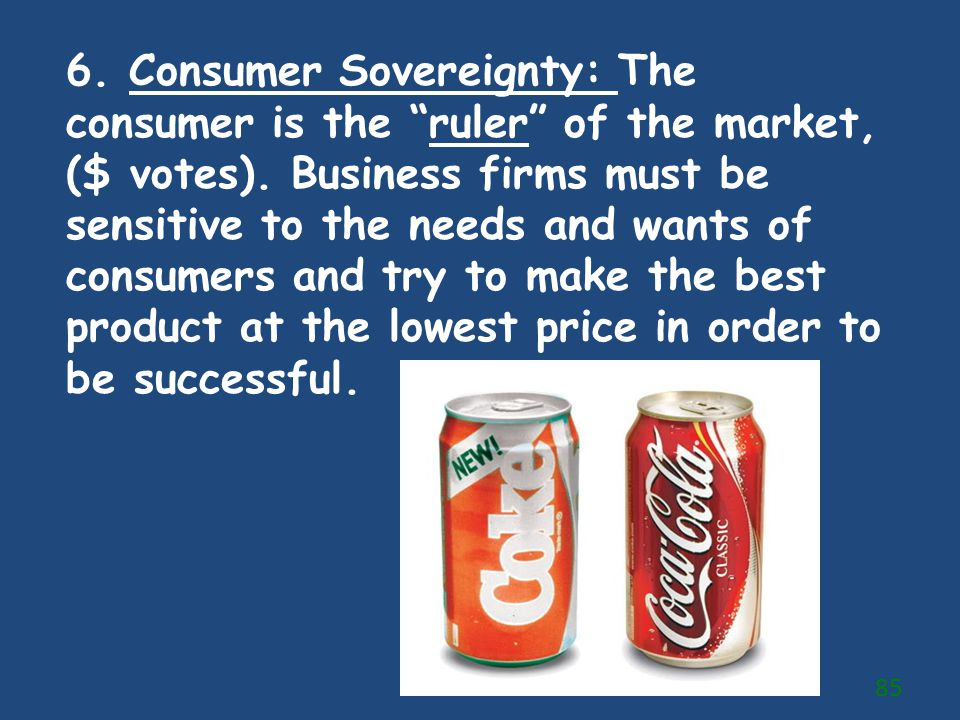 6. Consumer Sovereignty: The consumer is the ruler of the market, ($ votes).