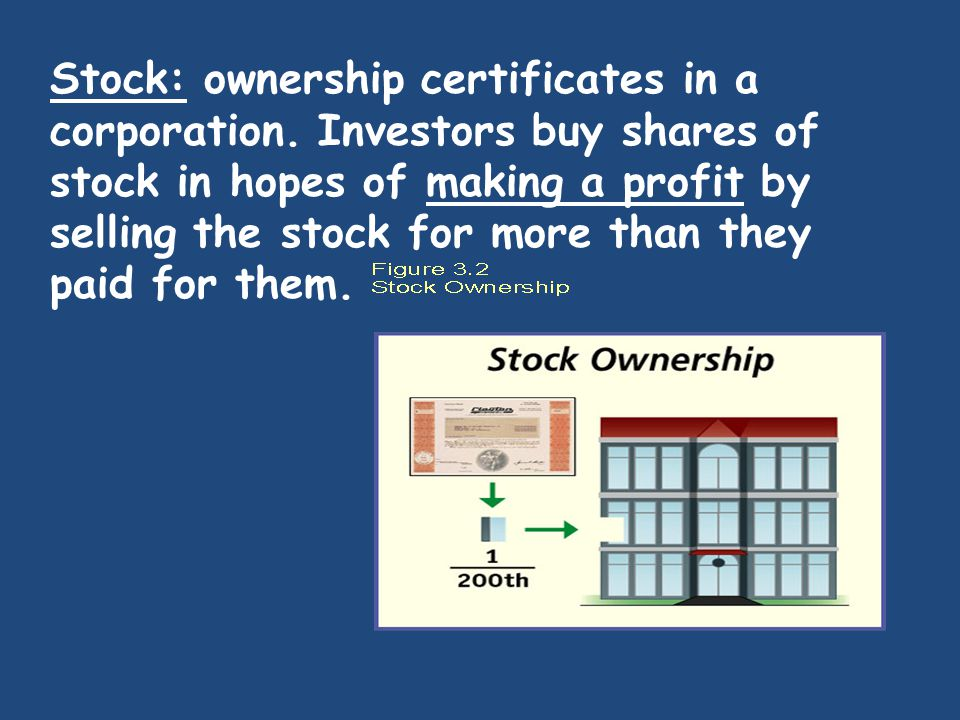 Stock: ownership certificates in a corporation