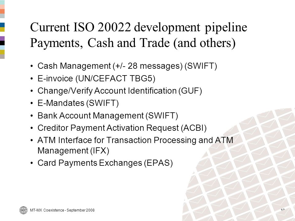 Current ISO 20022 development pipeline Payments, Cash and Trade (and others)