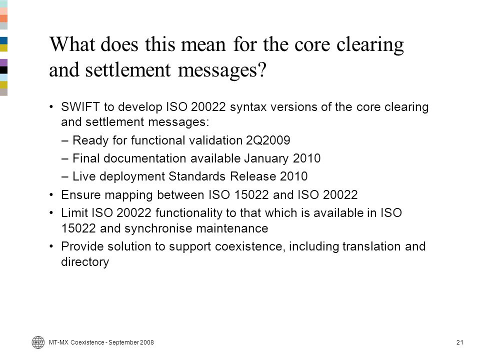 What does this mean for the core clearing and settlement messages