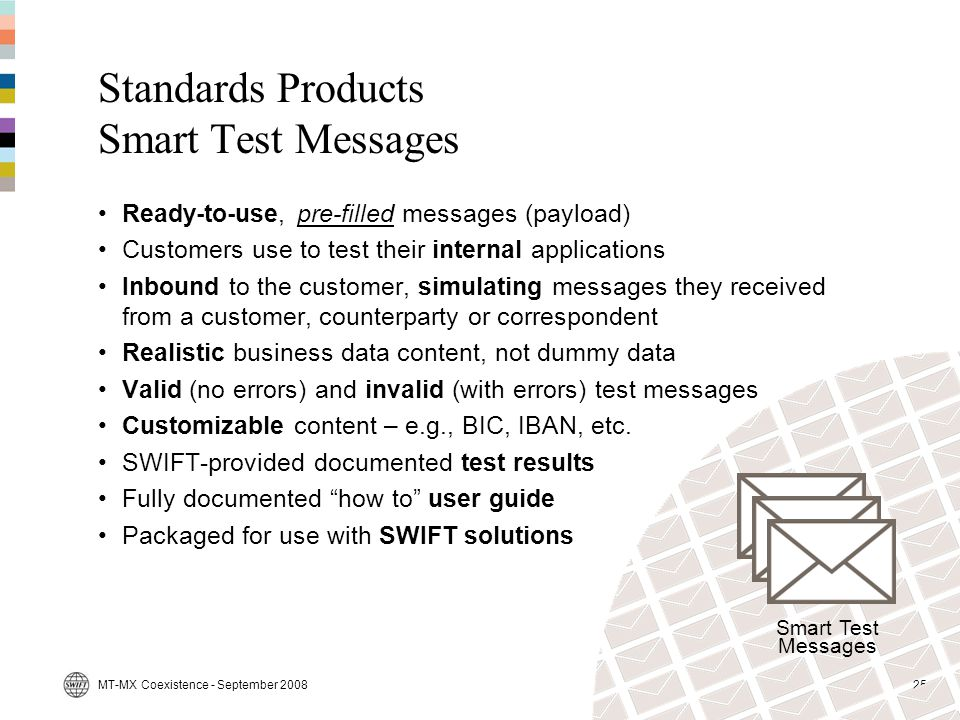 Standards Products Smart Test Messages