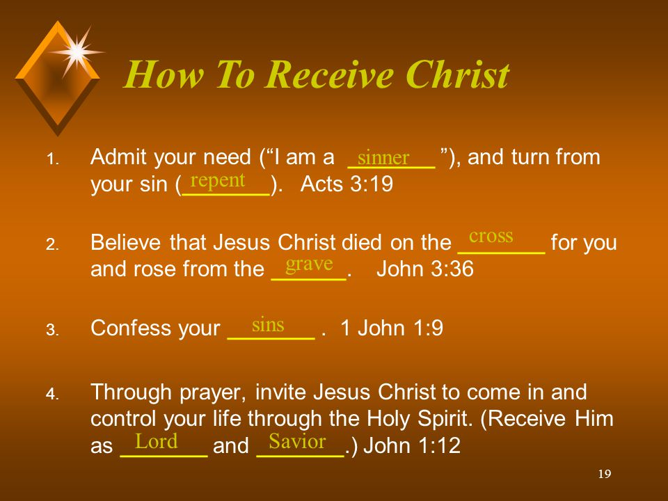 How To Receive Christ Admit your need ( I am a _______ ), and turn from your sin (_______). Acts 3:19.