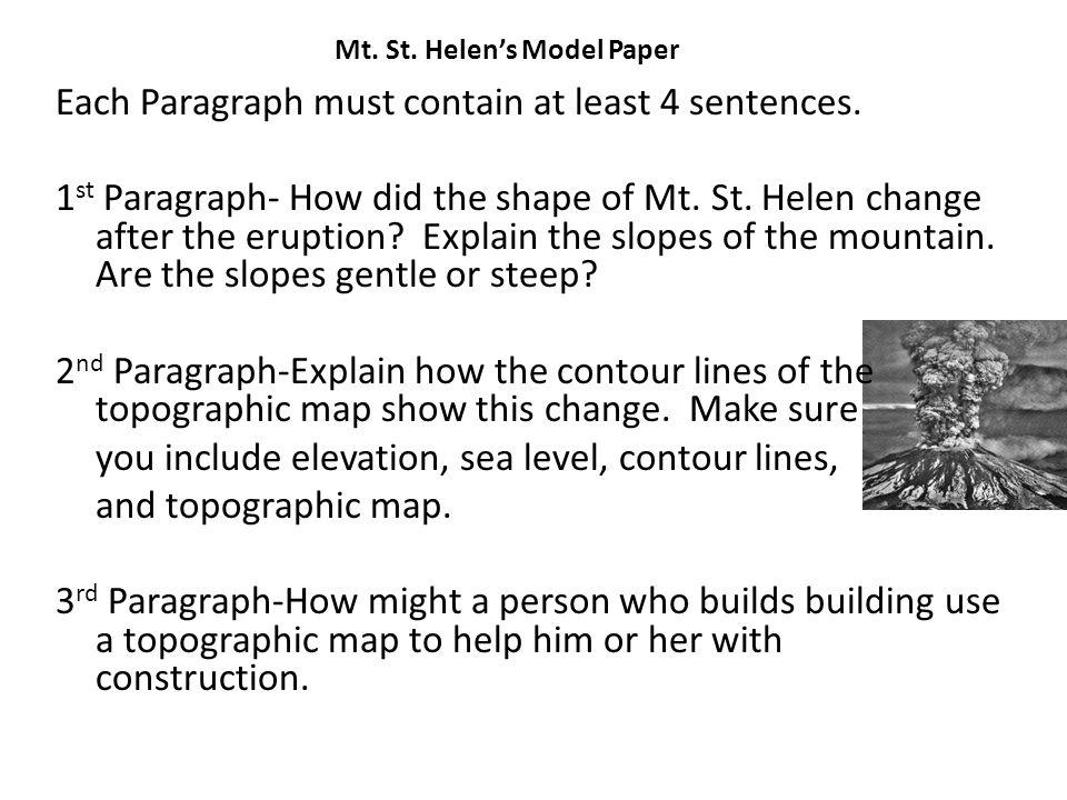 Mt. St. Helen's Model Paper