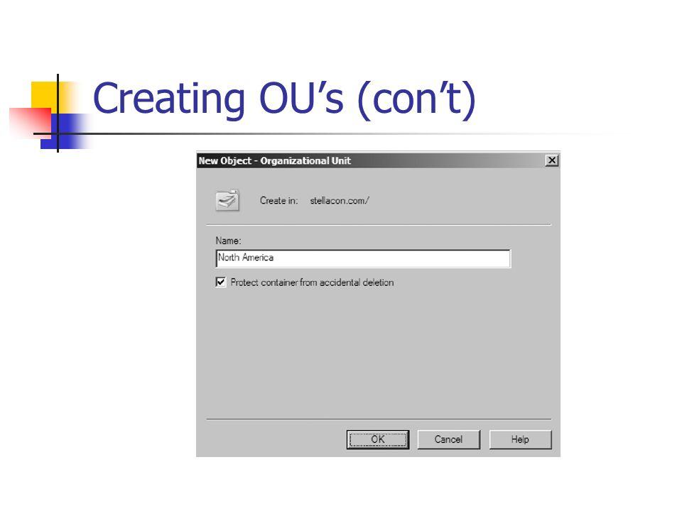 Creating OU's (con't)