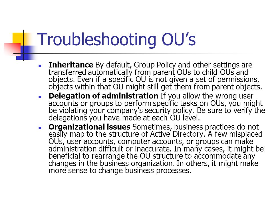 Troubleshooting OU's