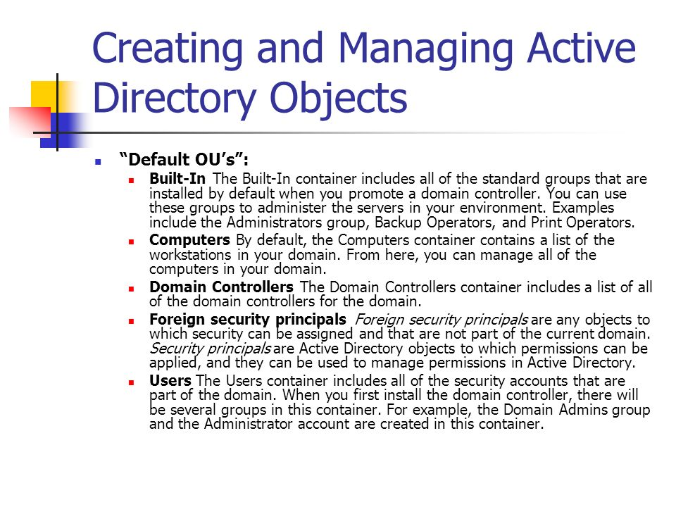 Creating and Managing Active Directory Objects