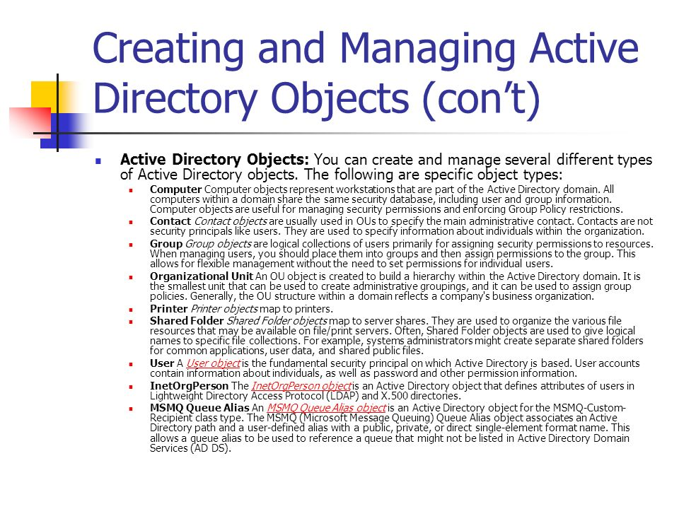 Creating and Managing Active Directory Objects (con't)