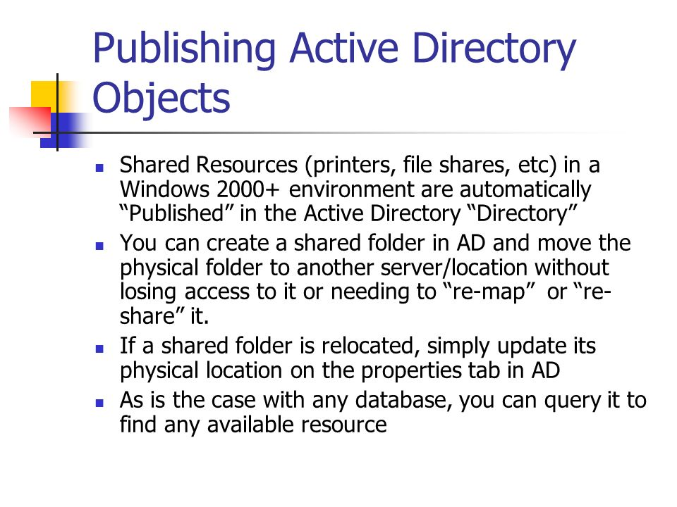 Publishing Active Directory Objects