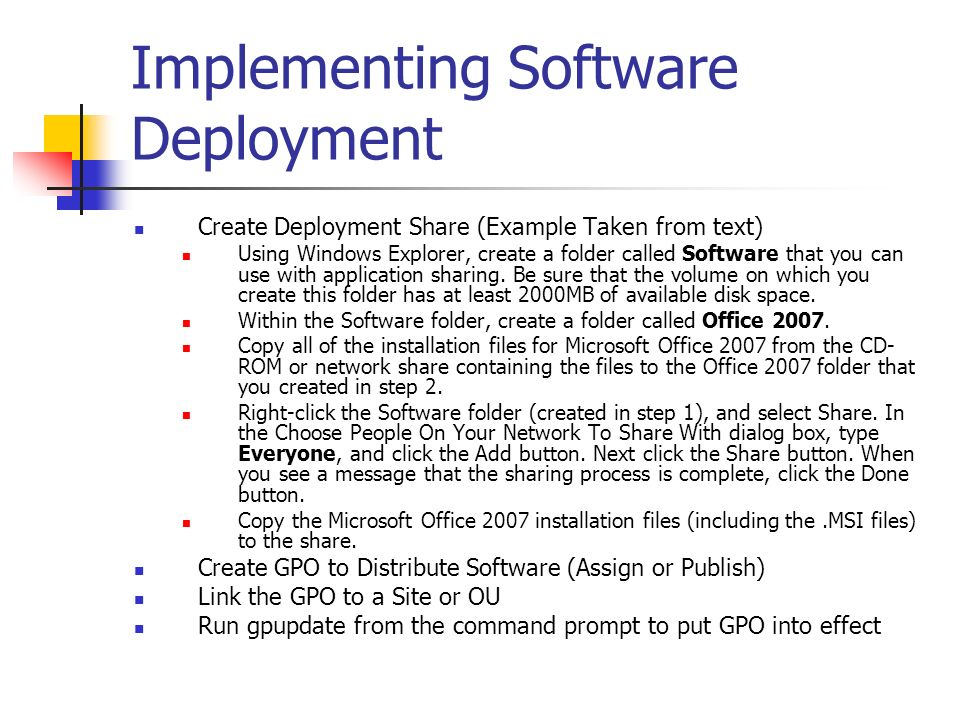 Implementing Software Deployment