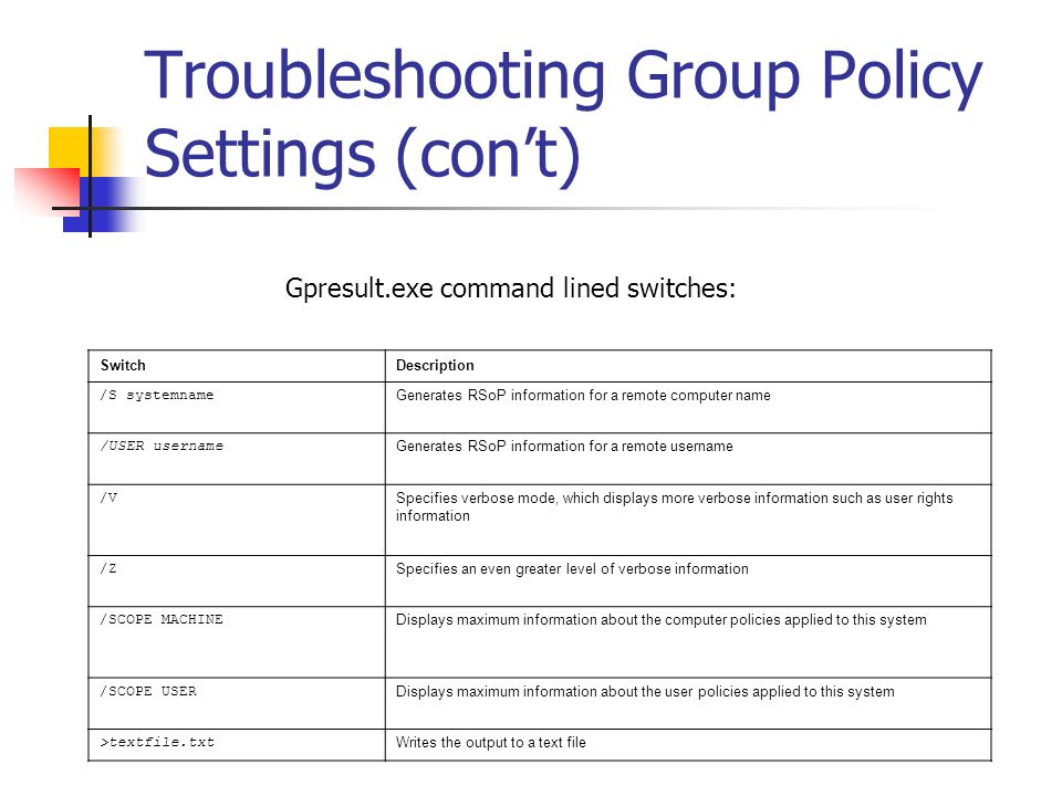 Troubleshooting Group Policy Settings (con't)