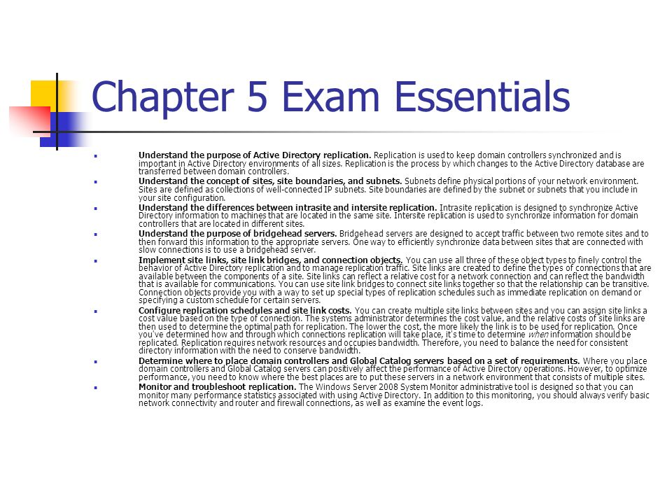 Chapter 5 Exam Essentials