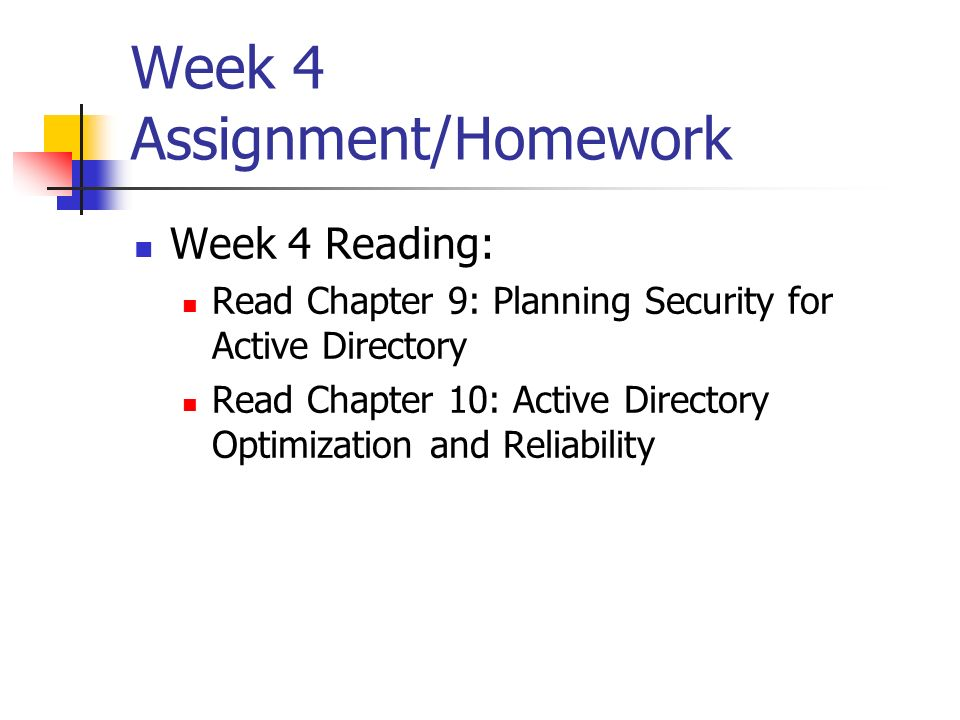Week 4 Assignment/Homework