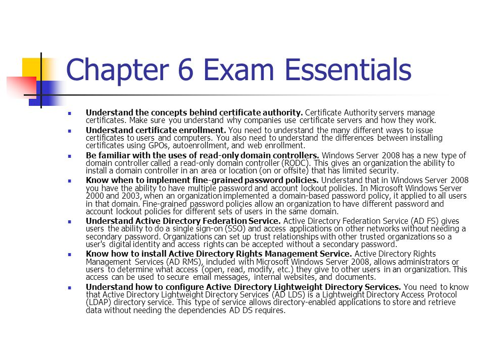 Chapter 6 Exam Essentials